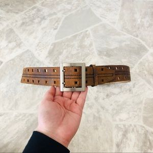 Brown genuine leather buckle belt size small